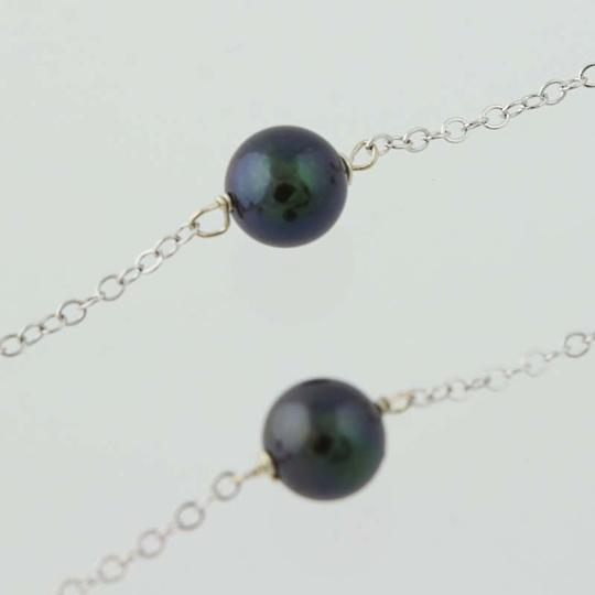 Other Black Freshwater Pearl Necklace - 14k White Gold N3936 Image 3