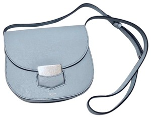 Céline Trotteur Silver Hardware Grained Leather Leather Cross Body Bag