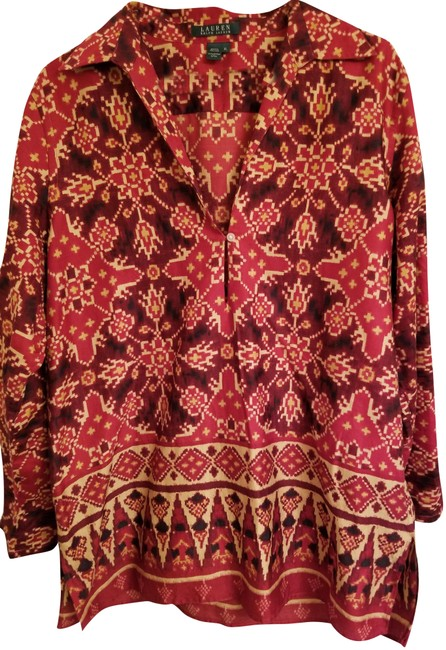 Preload https://img-static.tradesy.com/item/24599179/ralph-lauren-red-aztec-patterned-tunicblouse-blouse-size-12-l-0-1-650-650.jpg