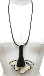Marni MARNI Necklace Collar Black Ivory Leather Gold Tone Chain