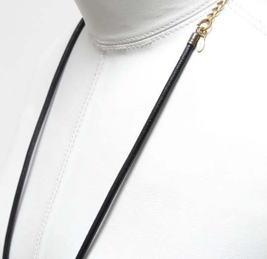 Marni MARNI Necklace Collar Black Ivory Leather Gold Tone Chain Image 5