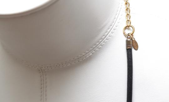 Marni MARNI Necklace Collar Black Ivory Leather Gold Tone Chain Image 6