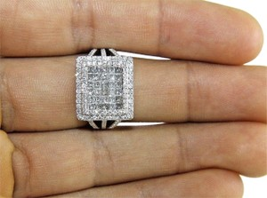 Other Princess Cut Diamond Invisible Square Cluster Ring Band 14k WG 1.90Ct