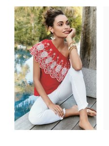 Stella & Dot One Shoulder Top Red and White