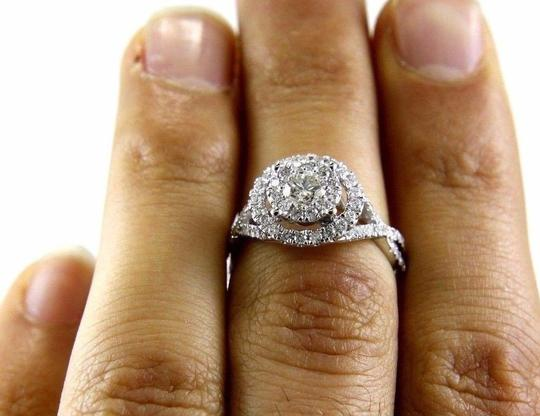 Other Round Cut Diamond Infinity Ring w/Halo & Accents 14k White Gold 1.07Ct Image 1