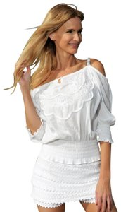 Lirome Country Western Sexy Cold Shoulders Retro Top White