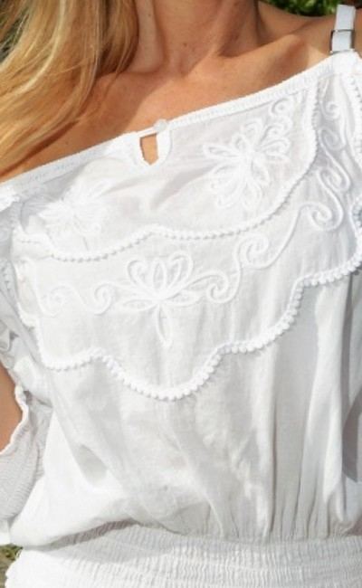 Lirome Country Western Sexy Cold Shoulders Retro Top White Image 2