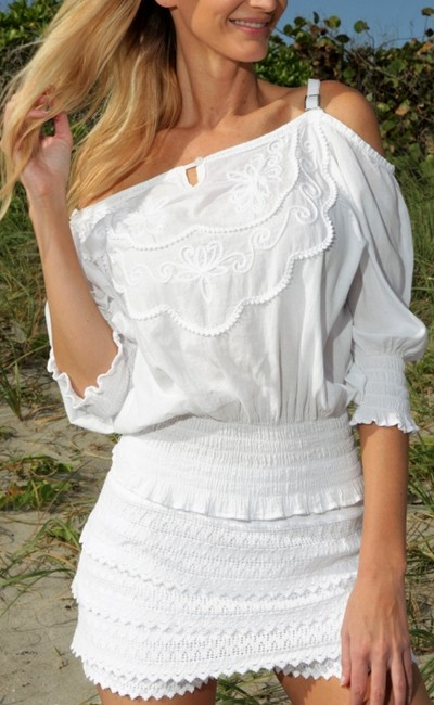 Lirome Country Western Sexy Cold Shoulders Retro Top White Image 4