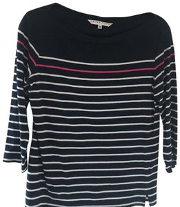 Trina Turk T Shirt navy with white stripes and one pink stripe