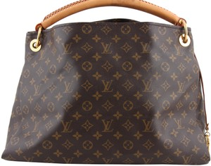 Louis Vuitton Black Leather Tote in Brown