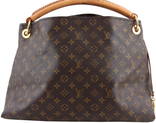 Louis Vuitton Black Leather Tote in Brown Image 0