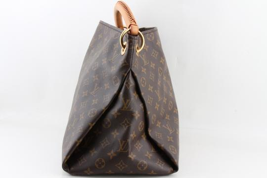 Louis Vuitton Black Leather Tote in Brown Image 3