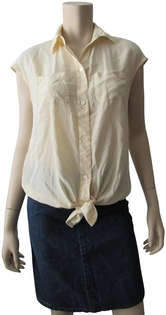 Preload https://img-static.tradesy.com/item/24599406/kenneth-cole-butter-short-sleeve-tie-bow-silky-blouse-size-4-s-0-1-650-650.jpg