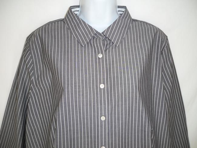 Talbots Striped Cotton No Iron Career Button Down Shirt Gray/white Image 1