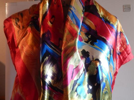 Other NEW GORGEOUS MULTI COLOR POLYESTER SCARF 35X35 new no tags Image 1