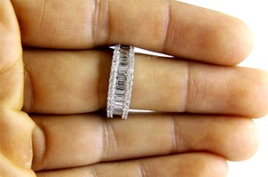 Other Baguette & Round Cluster Diamond Ladys Ring Band 14k White Gold 1.45Ct