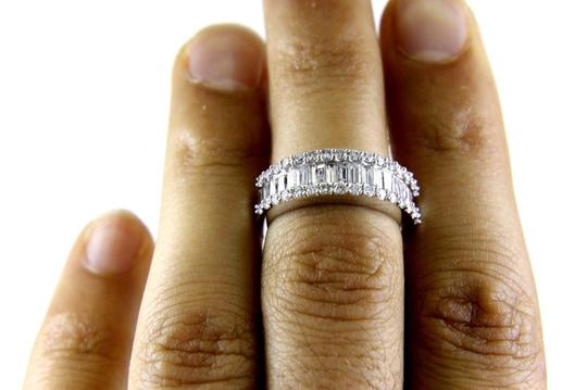 Other Baguette & Round Cluster Diamond Ladys Ring Band 14k White Gold 1.45Ct Image 1