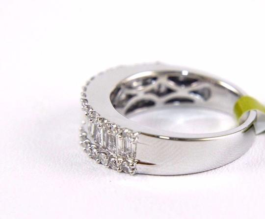 Other Baguette & Round Cluster Diamond Ladys Ring Band 14k White Gold 1.45Ct Image 2