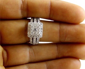 Other Round Diamond Square Cluster Lady's Ring w/Accents 14k WG 2.11Ct