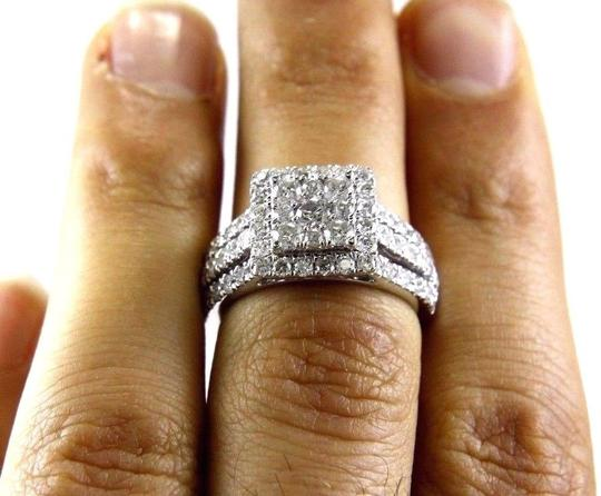 Other Round Diamond Square Cluster Lady's Ring w/Accents 14k WG 2.11Ct Image 1