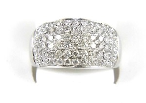 Other Brilliant Wide Round Diamond Cigar Cluster Band 14K White Gold 1.60Ct