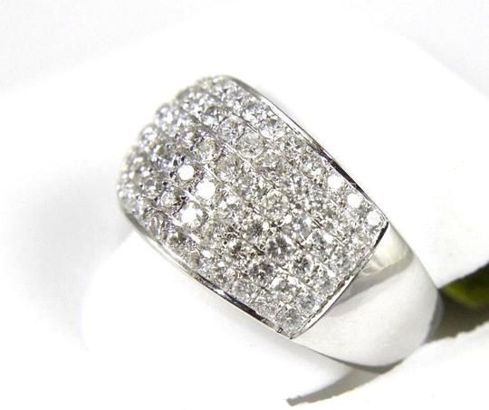 Other Brilliant Wide Round Diamond Cigar Cluster Band 14K White Gold 1.60Ct Image 2