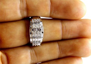 Other Princess & Baguette Diamond Cluster Ring Band 14k White Gold 1.00Ct