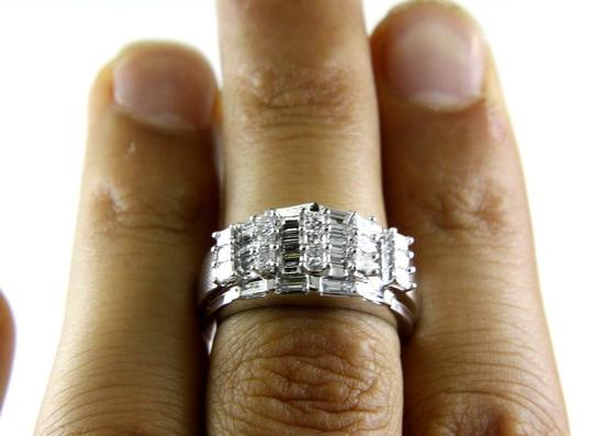 Other Princess & Baguette Diamond Cluster Ring Band 14k White Gold 1.00Ct Image 1