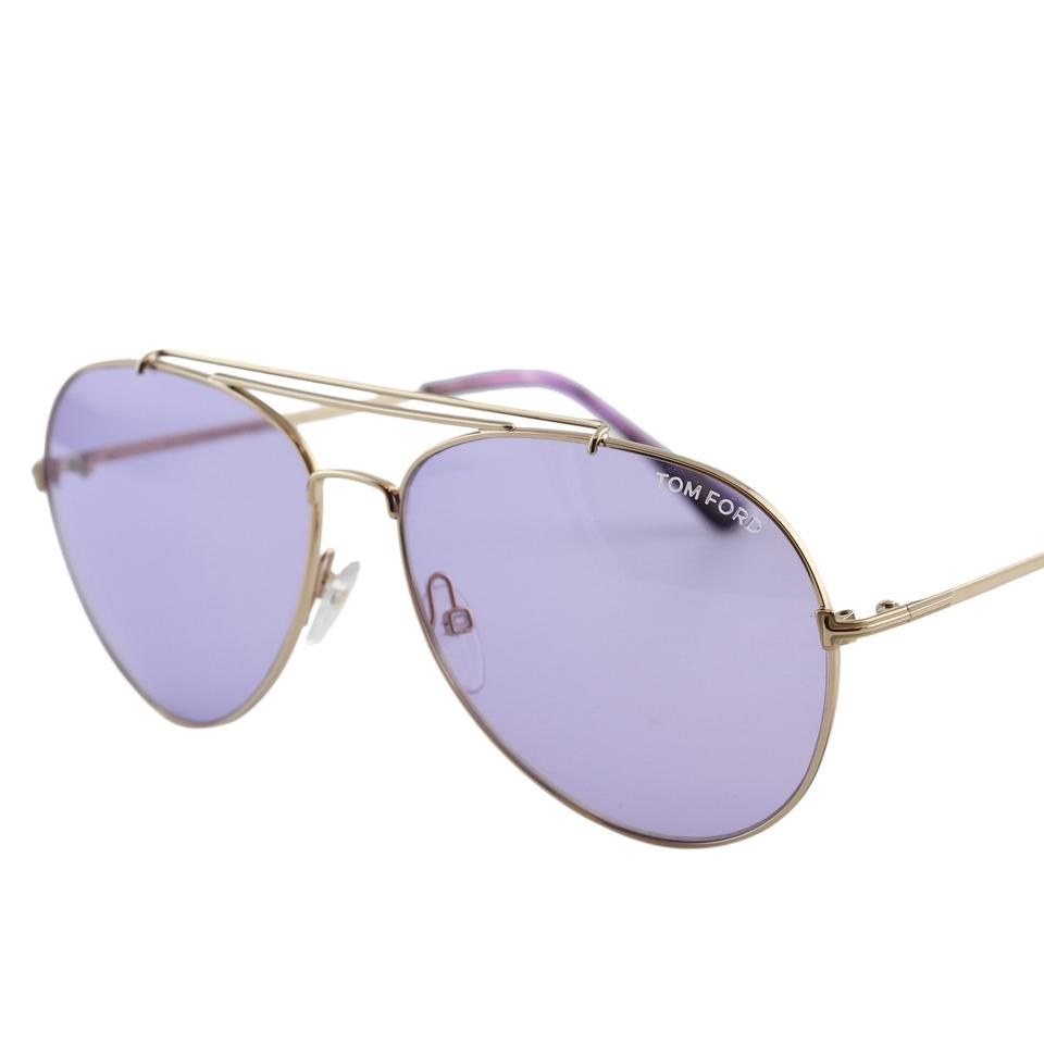 6b7aa6a51c Tom Ford New Tf Indiana FT0497 28Y Women Rose Gold Aviator Sunglasses Image  0 ...