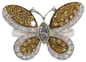 Other Fancy Yellow Diamond Butterfly Shape Cocktail Ring 18k WG 1.30Ct