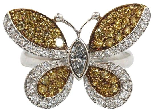 Preload https://img-static.tradesy.com/item/24599687/yellow-and-silver-fancy-diamond-butterfly-shape-cocktail-18k-wg-130ct-ring-0-1-540-540.jpg