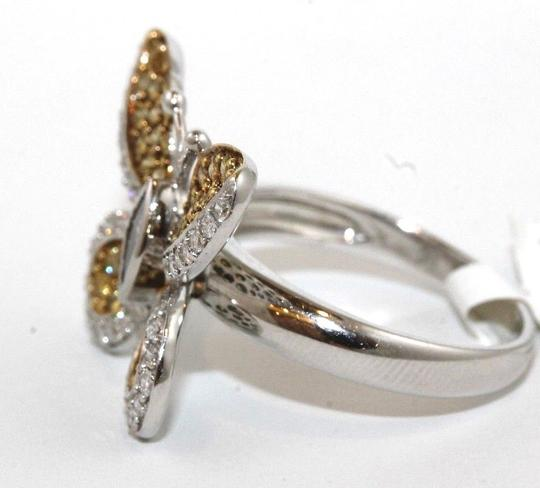 Other Fancy Yellow Diamond Butterfly Shape Cocktail Ring 18k WG 1.30Ct Image 1