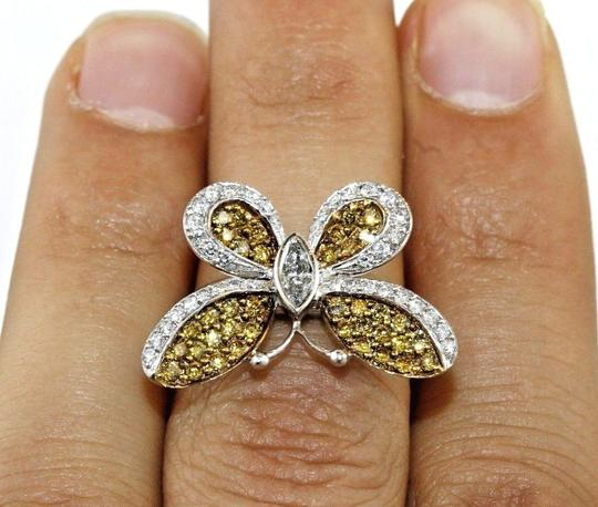 Other Fancy Yellow Diamond Butterfly Shape Cocktail Ring 18k WG 1.30Ct Image 4