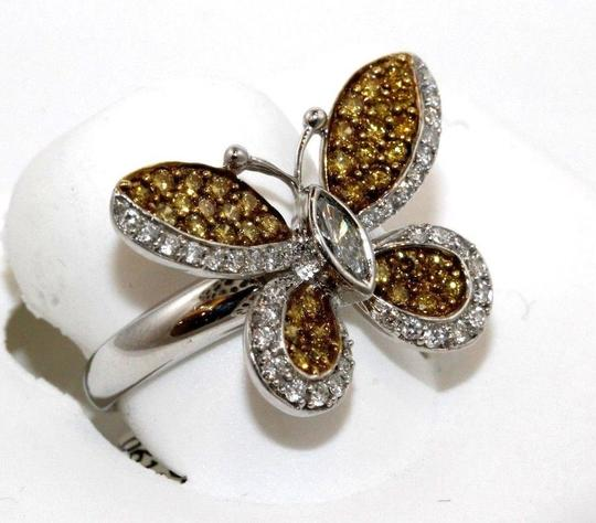 Other Fancy Yellow Diamond Butterfly Shape Cocktail Ring 18k WG 1.30Ct Image 5