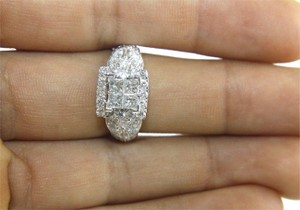 Other Princess Cut Diamond Square Engagement Ring Band 14k White Gold 1.90Ct