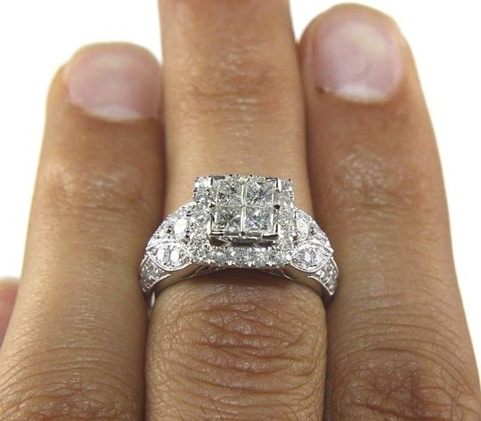 Other Princess Cut Diamond Square Engagement Ring Band 14k White Gold 1.90Ct Image 1