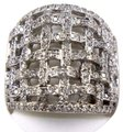 Other Round Diamond Criss Cross Weave Cluster Ring Band 18k WG 1.68Ct Image 0