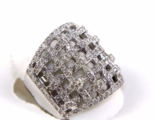 Other Round Diamond Criss Cross Weave Cluster Ring Band 18k WG 1.68Ct Image 1