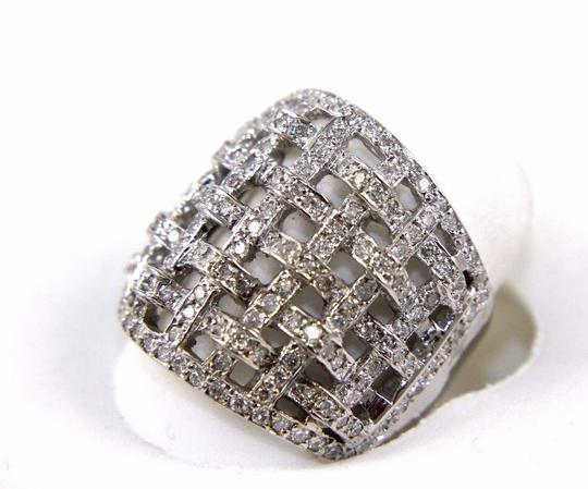 Other Round Diamond Criss Cross Weave Cluster Ring Band 18k WG 1.68Ct Image 2