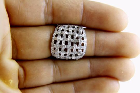 Other Round Diamond Criss Cross Weave Cluster Ring Band 18k WG 1.68Ct Image 3