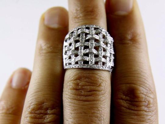 Other Round Diamond Criss Cross Weave Cluster Ring Band 18k WG 1.68Ct Image 4