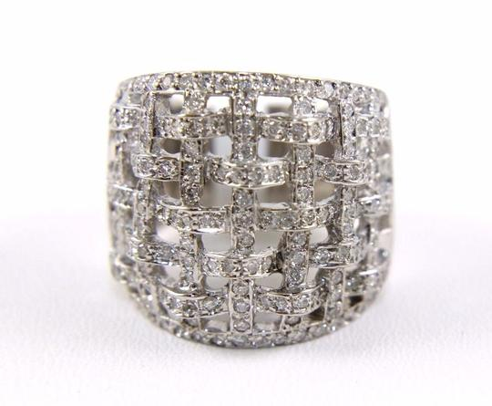 Other Round Diamond Criss Cross Weave Cluster Ring Band 18k WG 1.68Ct Image 5