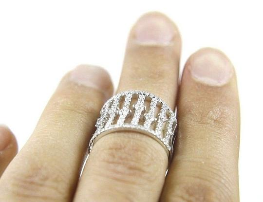Other Long Round Diamond Wide Cluster Lady's Ring Band 14k White Gold 1.38Ct Image 1