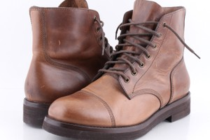 Brunello Cucinelli Brown Leather Lace-up Cap Toe Boots Shoes