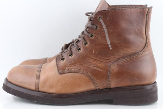 Brunello Cucinelli Brown Leather Lace-up Cap Toe Boots Shoes Image 1