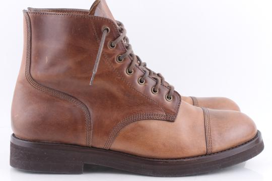 Brunello Cucinelli Brown Leather Lace-up Cap Toe Boots Shoes Image 2