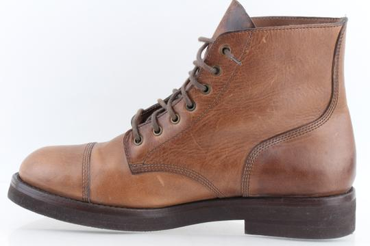 Brunello Cucinelli Brown Leather Lace-up Cap Toe Boots Shoes Image 3
