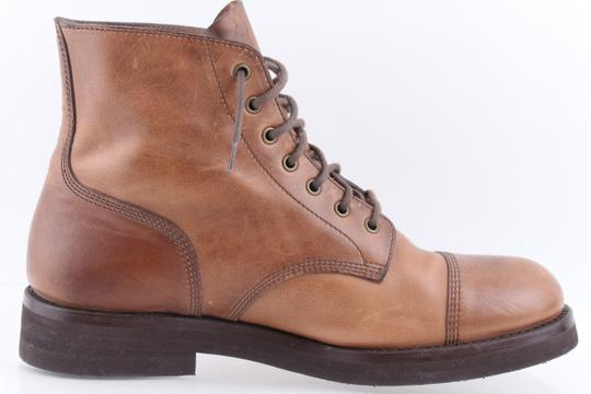 Brunello Cucinelli Brown Leather Lace-up Cap Toe Boots Shoes Image 4