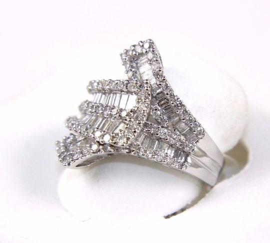 Other Emerald & Round Diamond Cluster Fold Ring Band 18k White Gold 1.54Ct Image 3