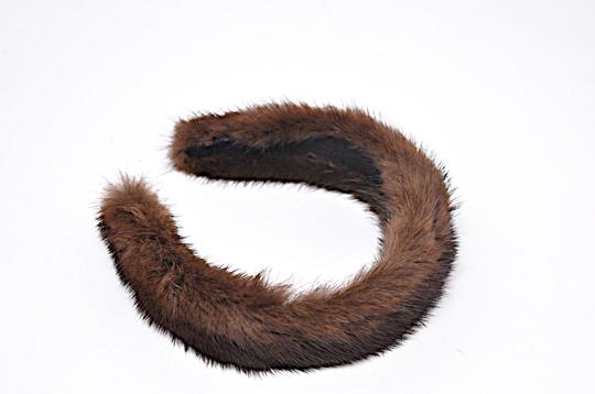 Designer Rich Chestnut Brown MINK Fur Covered Headband Image 1